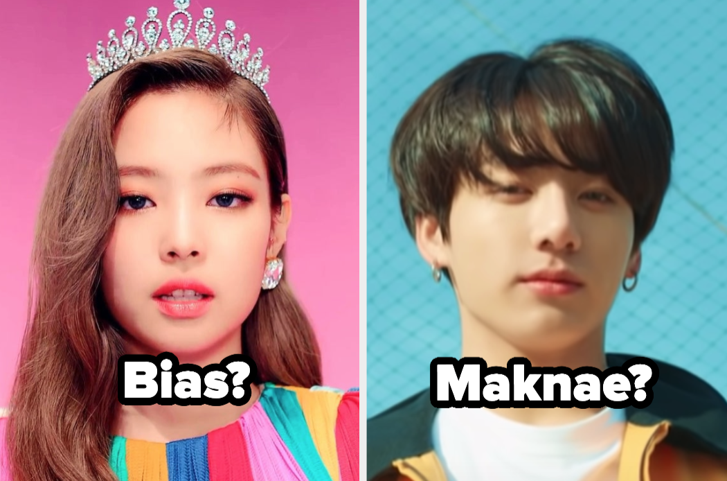 """Jennie from Blackpink with the word """"bias?"""" and Jungkook from BTS with the word """"maknae?"""""""