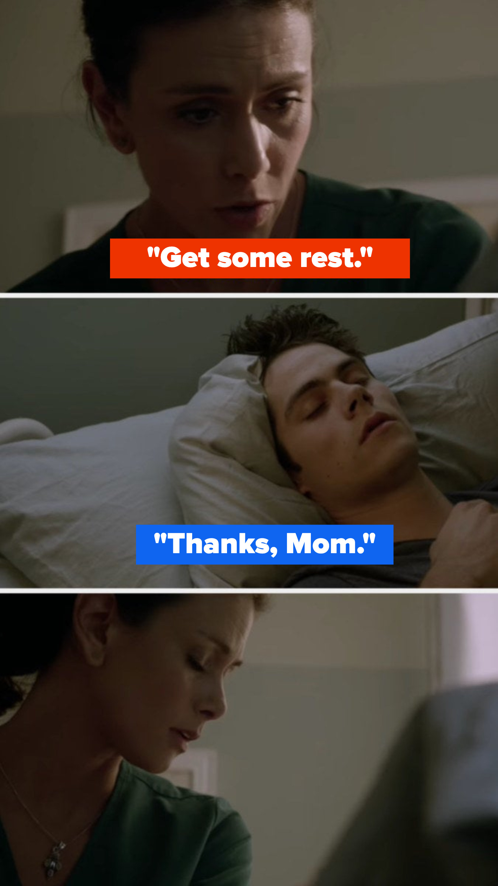 """Melissa tells Stiles to get some rest, and Stiles says, """"Thanks, Mom"""""""