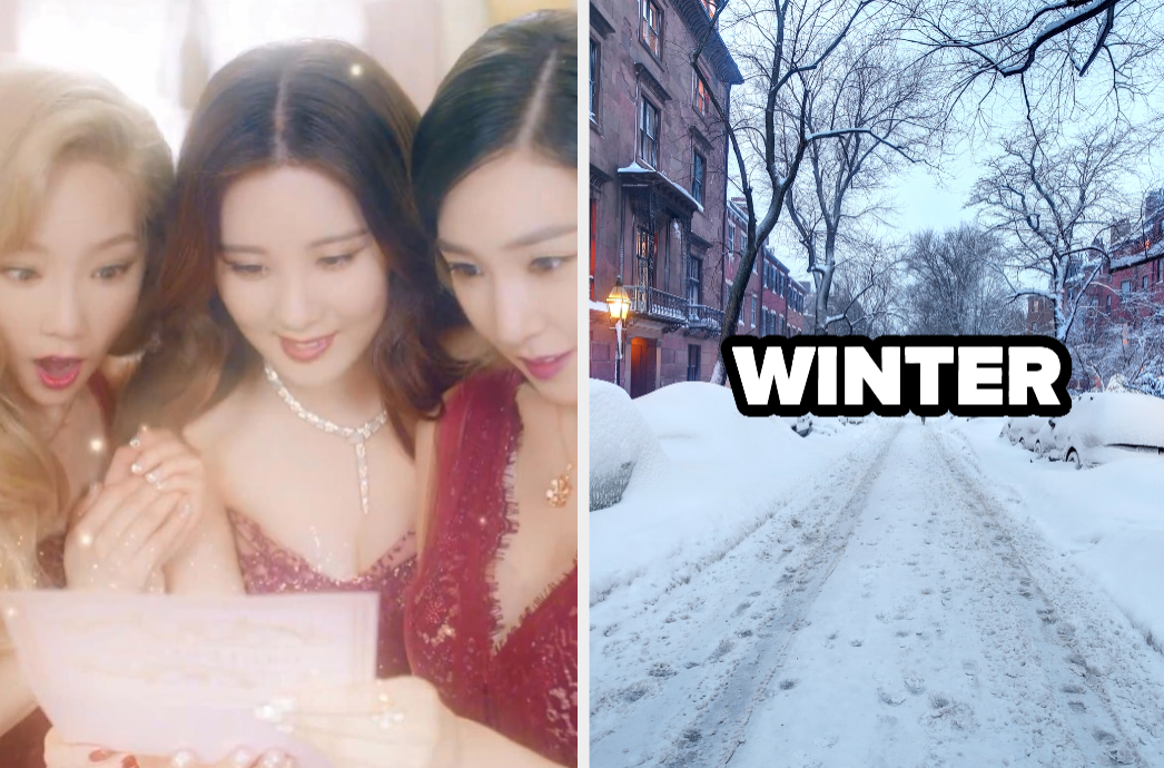 """An image from Girls' Generation-TTS' music video for """"Dear Santa"""" next to an image of a snow covered road with trees"""