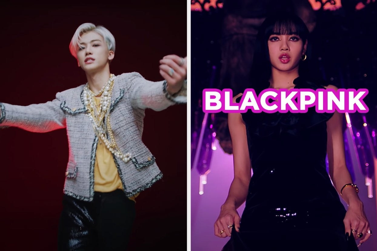 """On the left, NCT U in the """"Make a Wish (Birthday Song)"""" music video, and on the right, Blackpink in the """"How You Like That"""" music video labeled """"Blackpink"""""""