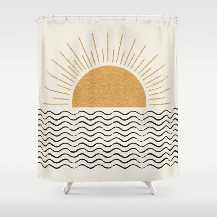 Shower curtain with sunrise pattern