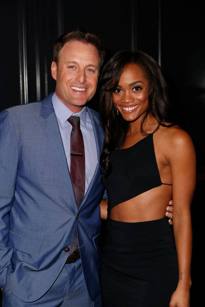 Chris Harrison (L) and Rachel Lindsay at Jimmy Kimmel Live