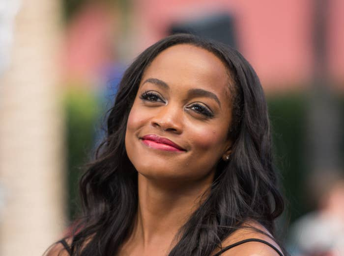 "Rachel Lindsay visits ""Extra"" at Universal Studios Hollywood on May 23, 2017 in Universal City, California"