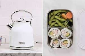 A split thumbnail of a tea kettle and a bento box