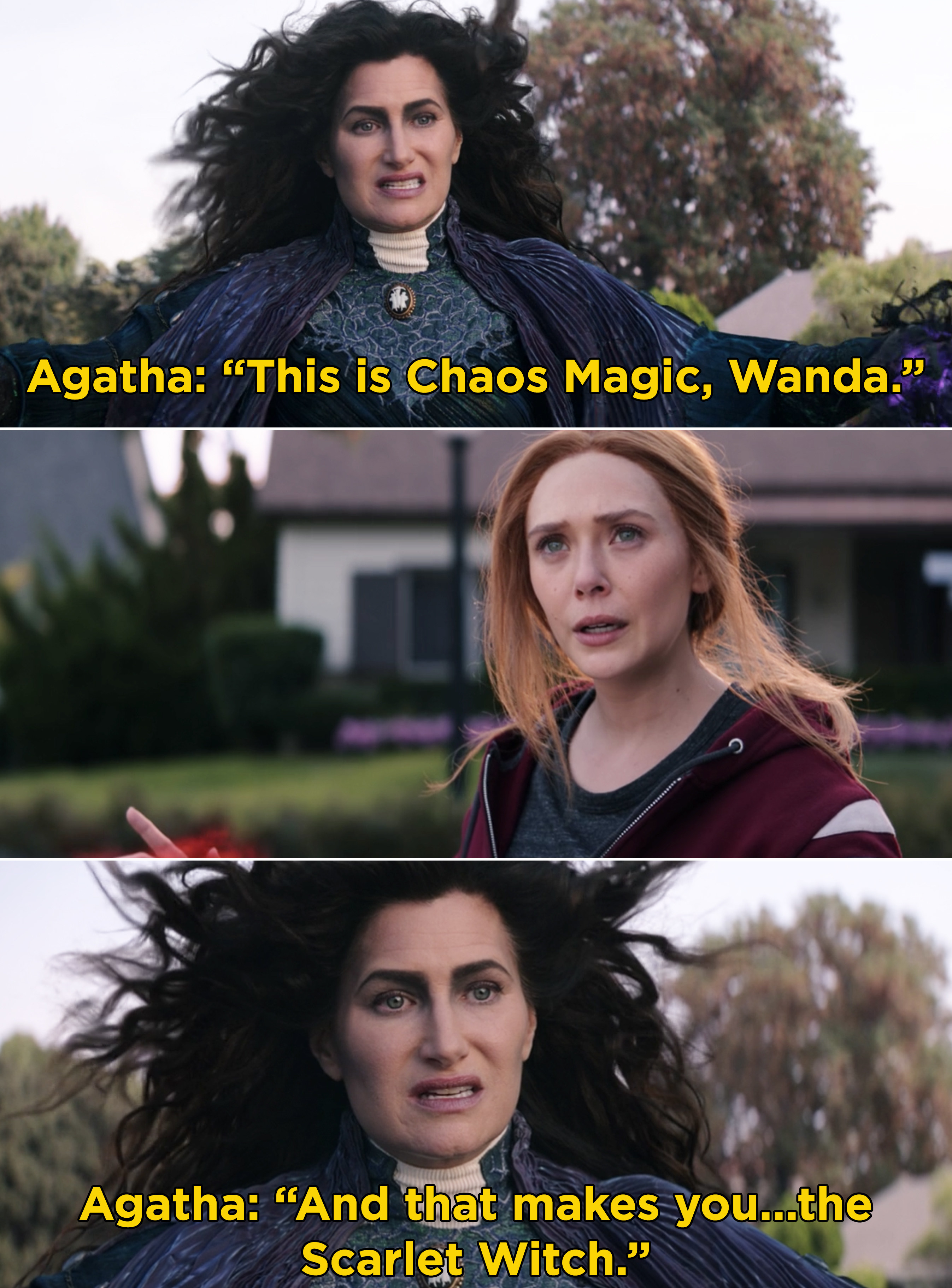 "Agathat telling Wanda, ""This is Chaos Magic, Wanda. And that makes you...the Scarlet Witch"""