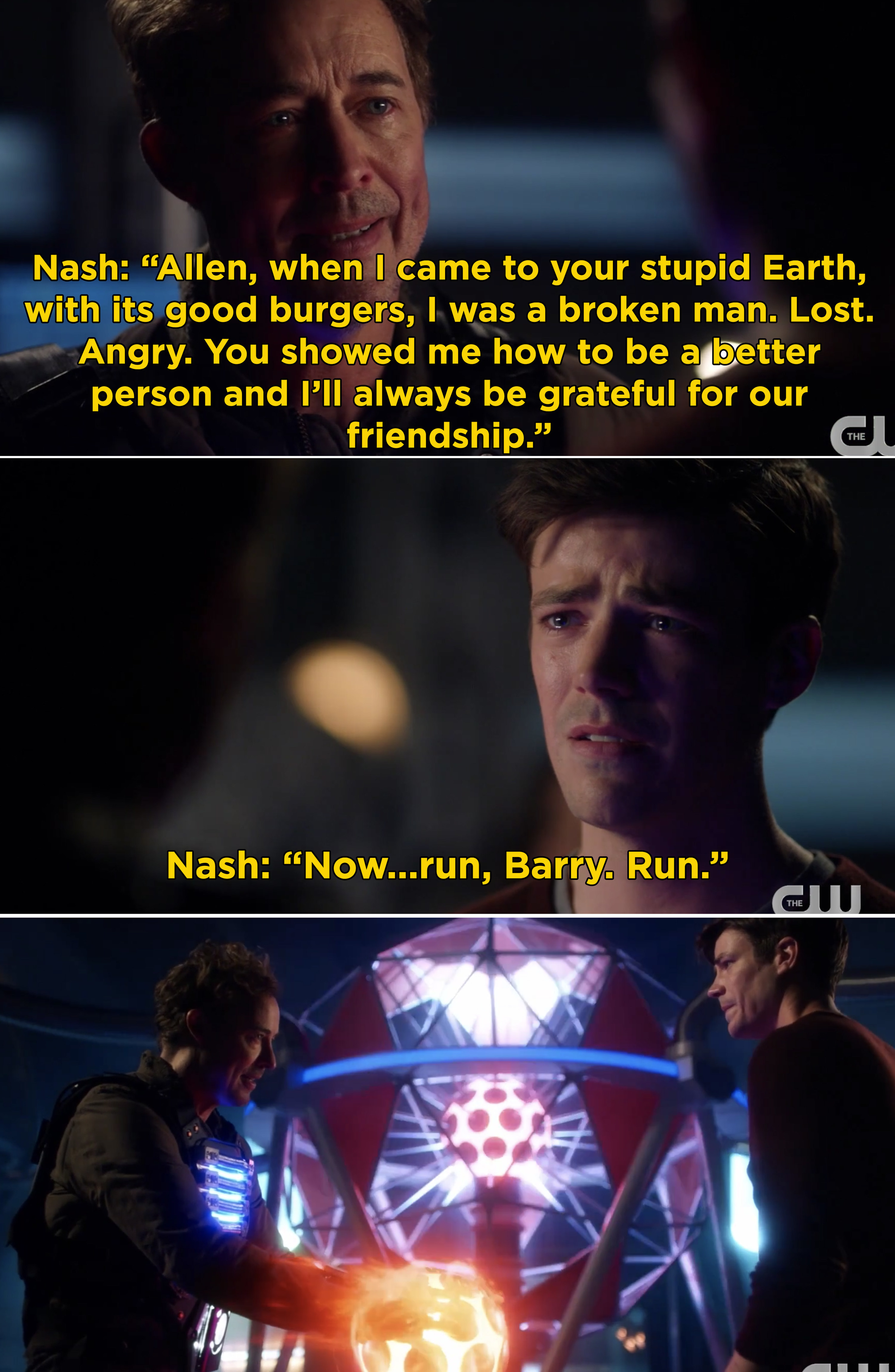 "Nash telling Barry that he helped him become a better man, and then telling Barry, ""Run, Barry. Run"""