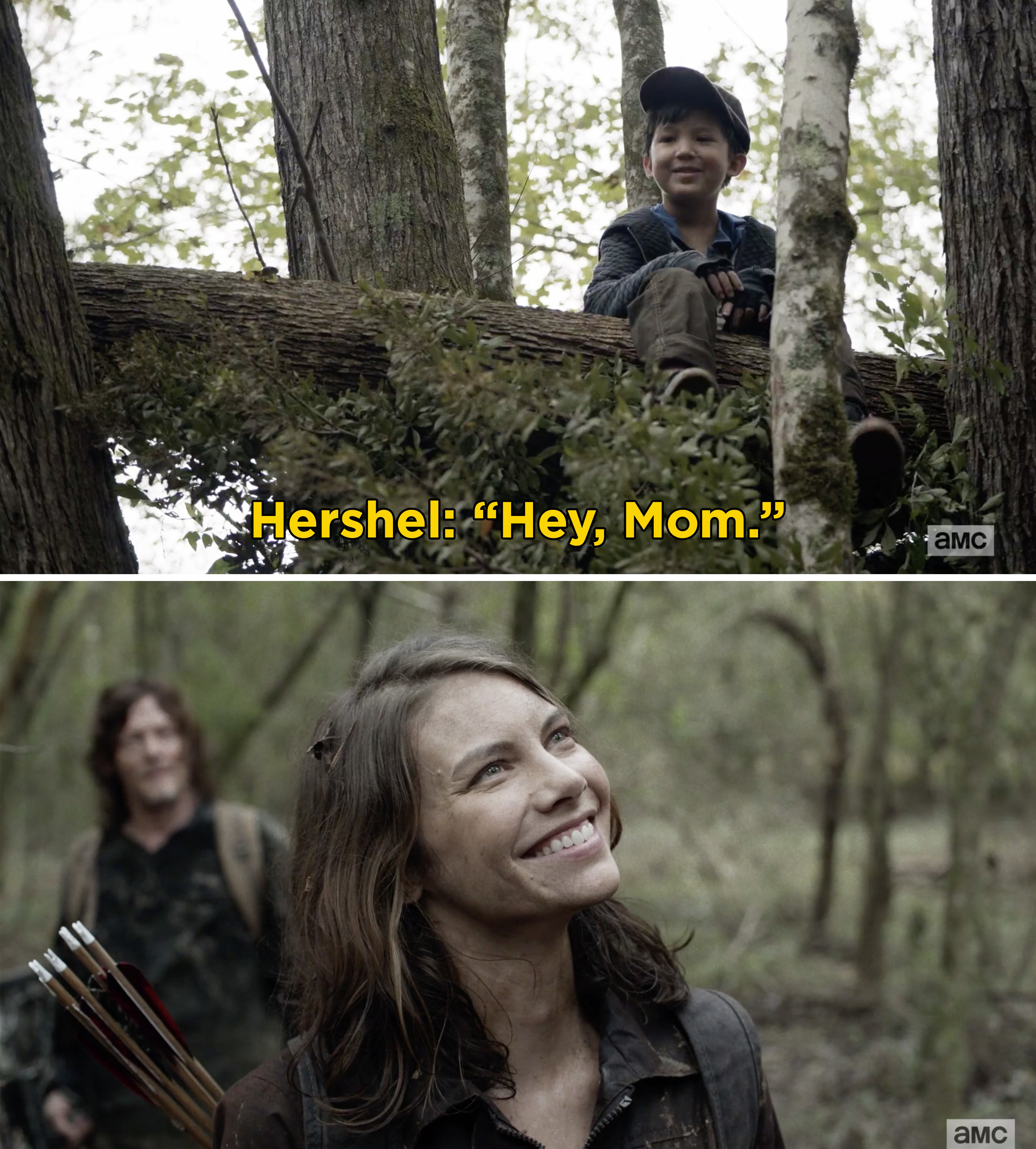 "Hershel Jr. sitting in a tree and saying, ""Hey, Mom"" and Maggie smiling at him"