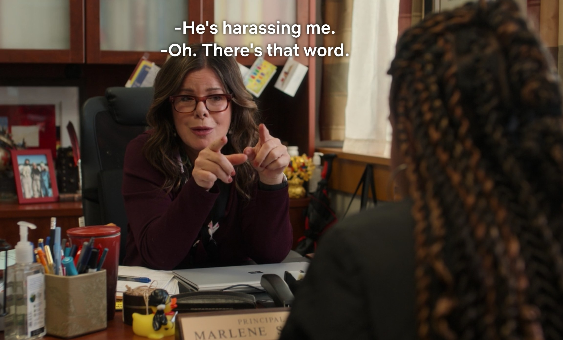 "Lucy says ""He's harassing me"" and Principal Shelly says, ""Oh, there's that word"""