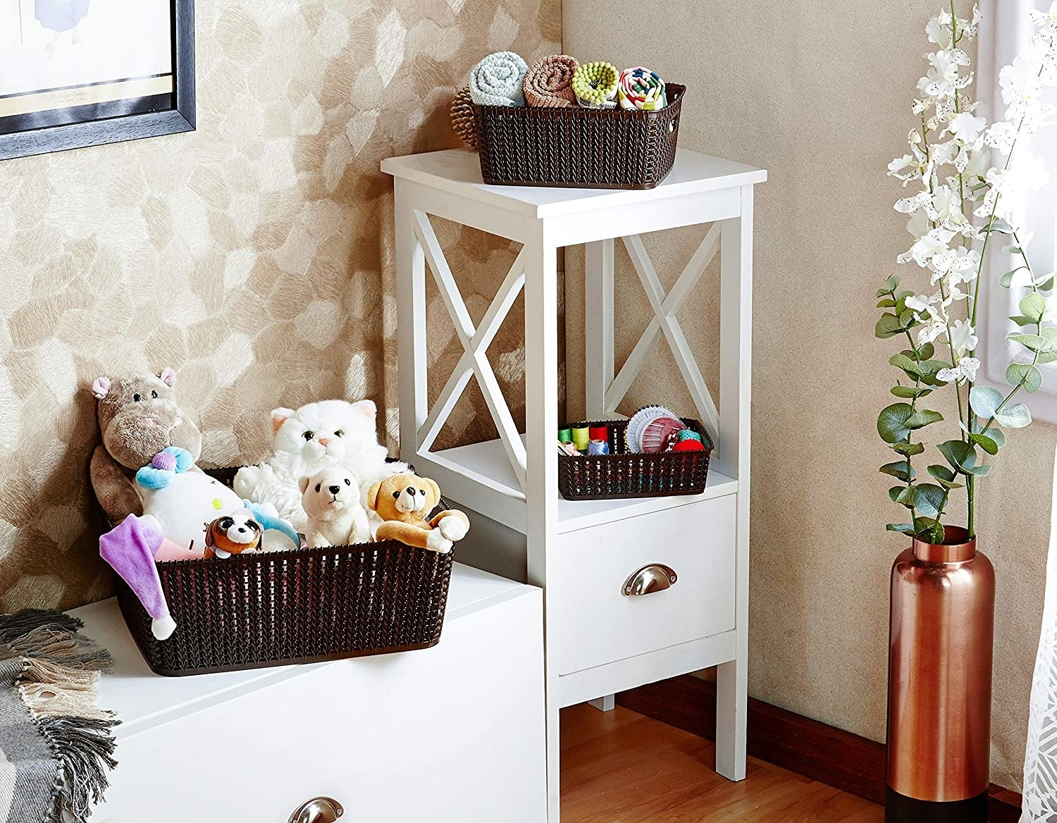 A set of brown storage baskets on a table