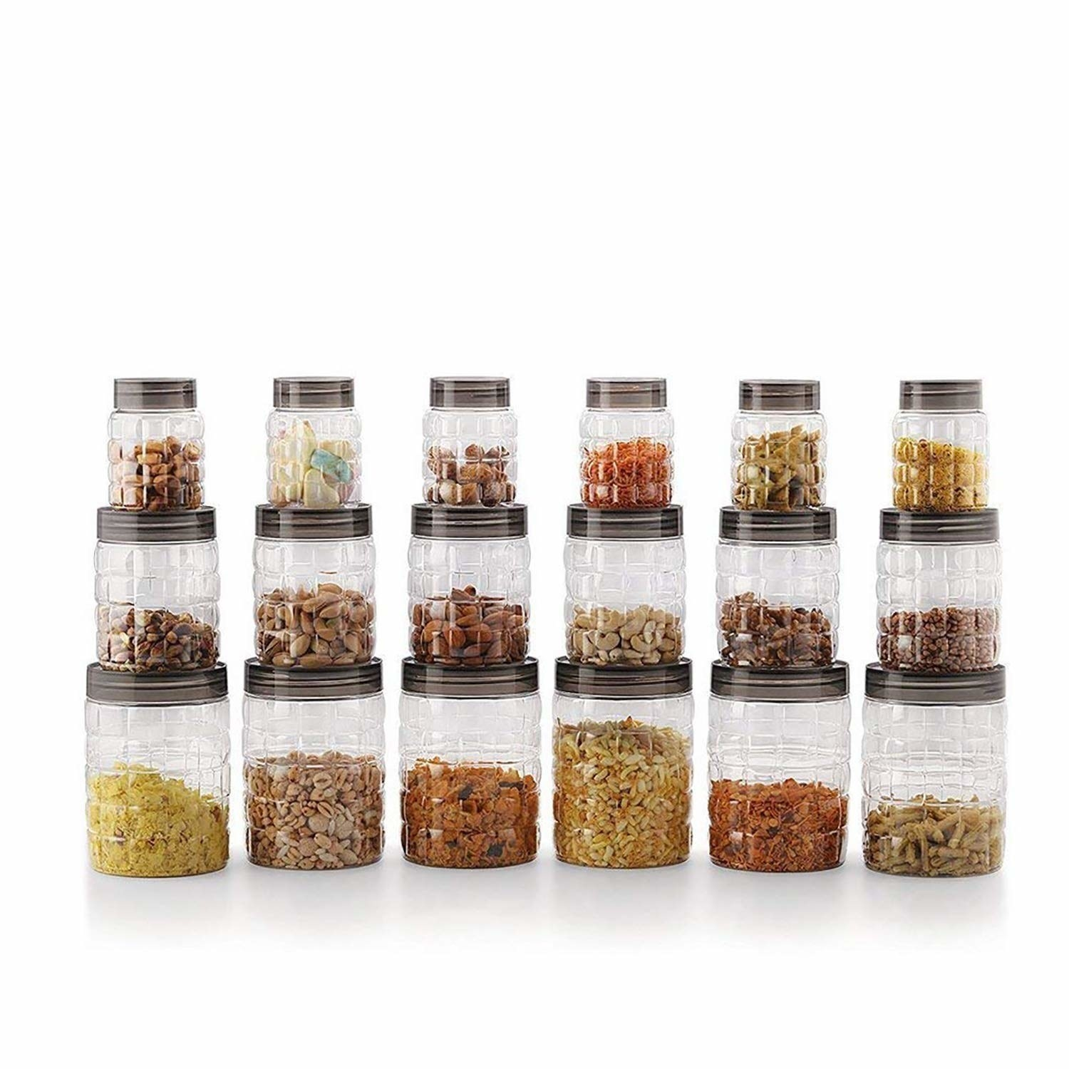 An 18 piece canister set with food items in it