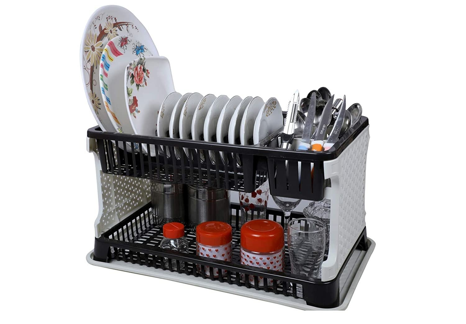 A dish organising rack with items in it