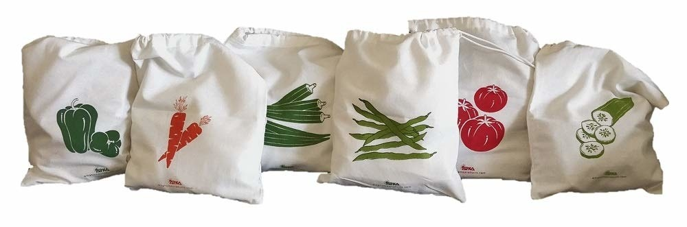 A set of storage bags with vegetables printed on them