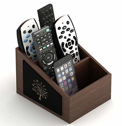A remote organiser with remotes in it