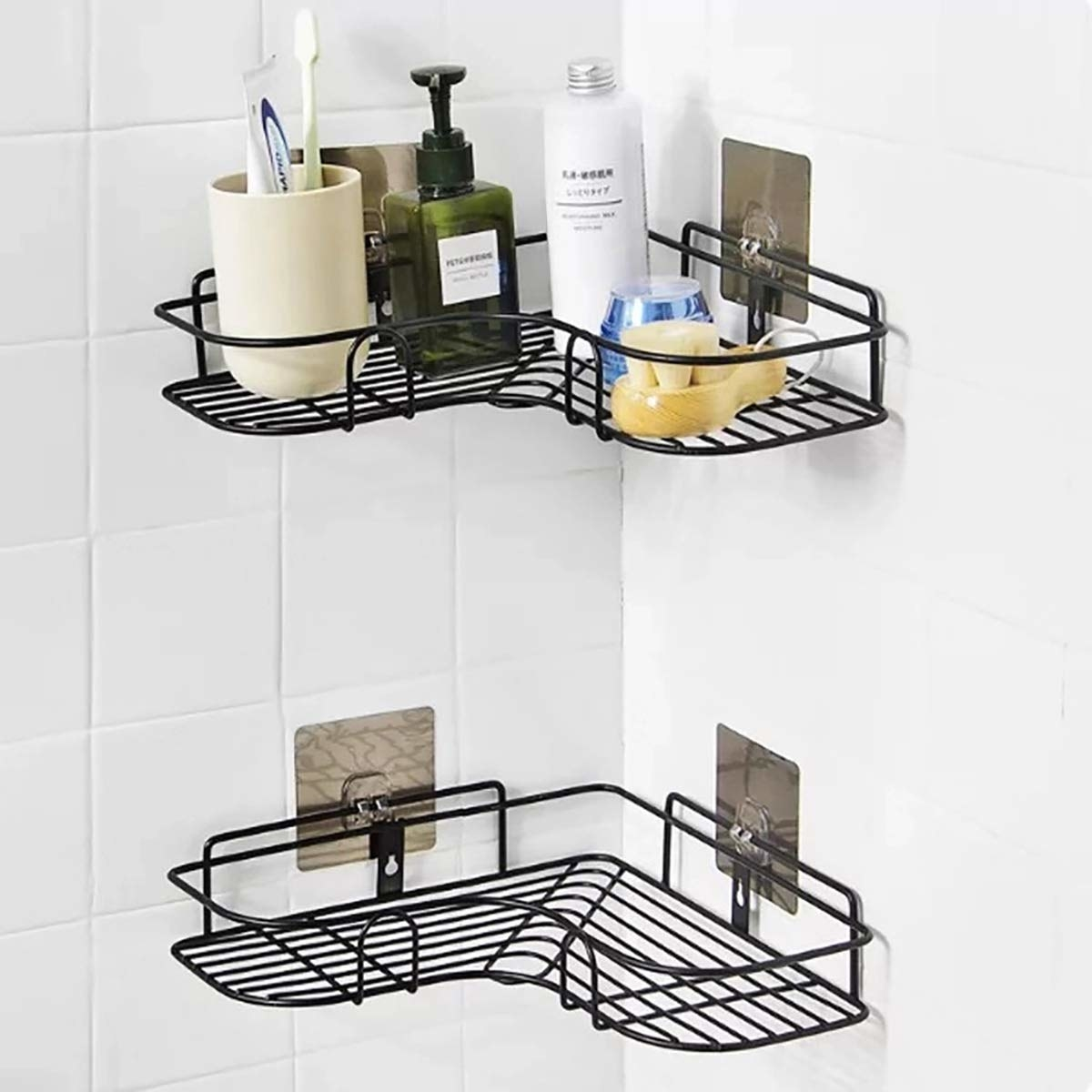 A shower caddy with shower products on it