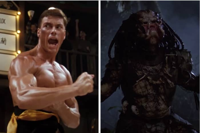 "Van Damme shirtless and fighting in ""Bloodsport"" and the scary alien from ""Predator"""