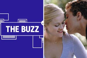 Splitscreen of purple graphic with THE BUZZ in white letters on the left side and a photo of Reese Witherspoon and Ryan Phillippe in Cruel Intentions on the right side (CREDIT: COLUMBIA PICTURES)