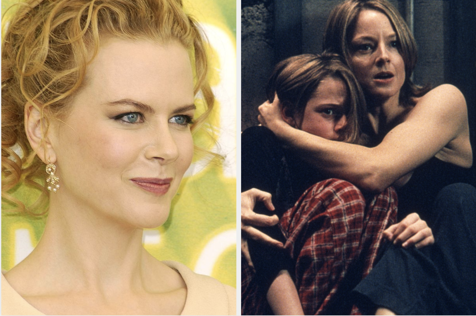 "Nicole Kidman and a still of Foster hugging her onscreen daughter in ""Panic Room"""