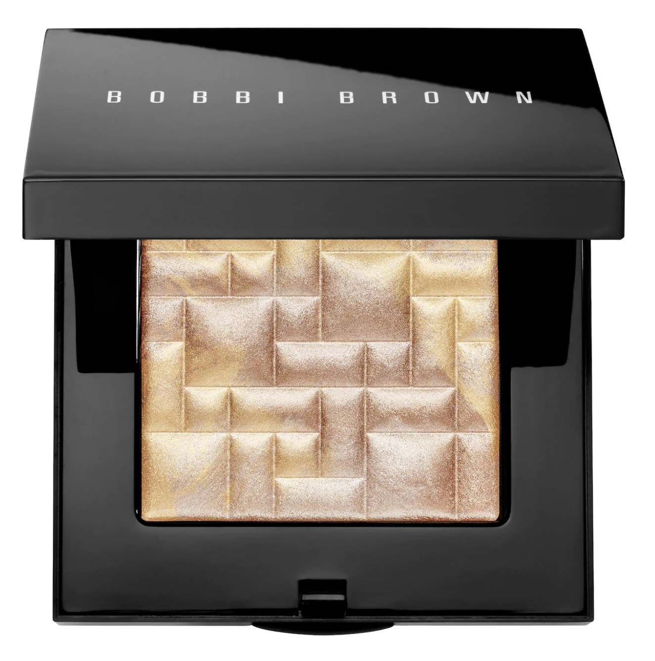 A compact with a makeup highlighter