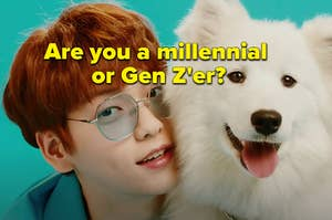 """A BTS member is posing next to a dog with a caption that reads: """"Are you a millennial  or Gen Z'er?"""""""