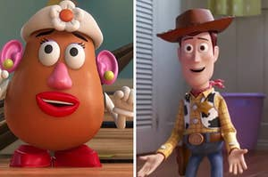 Mrs. Potato Head is on the left with Woody on the right holding his hands out