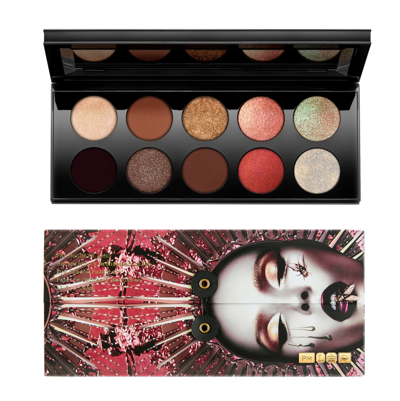 An eyeshadow palette with shimmer and matte shades.