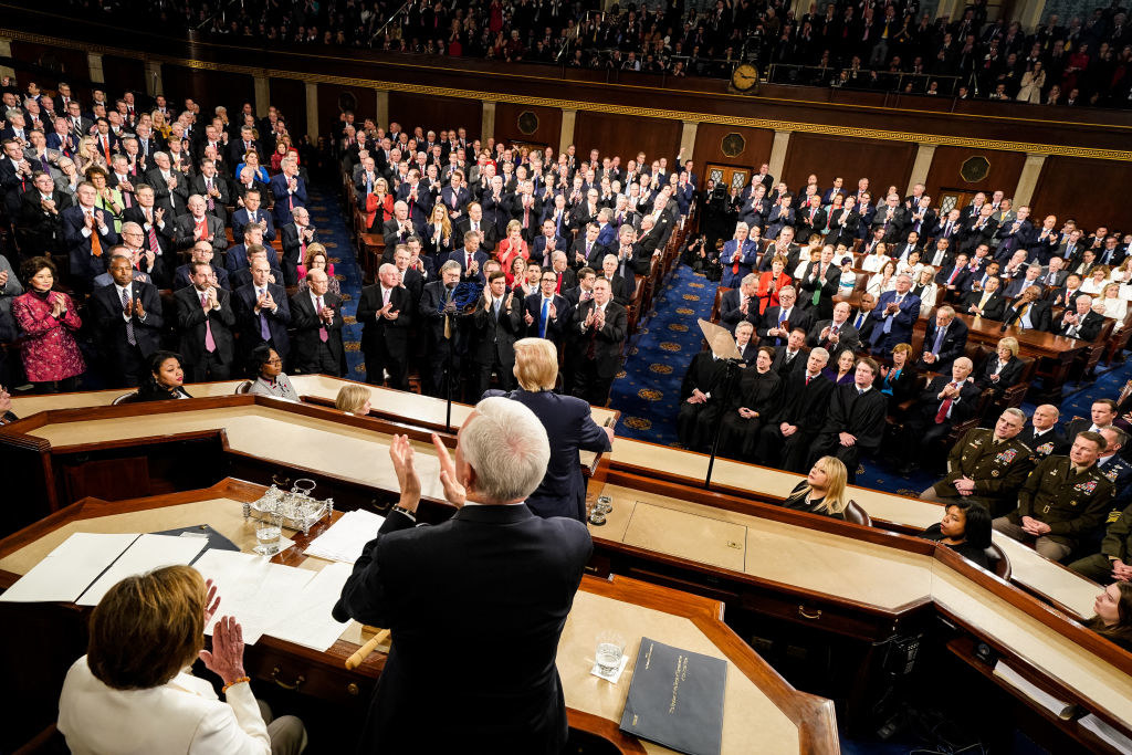 The chamber for the House of Representatives filled with congressmen as Donald Trump makes a speach