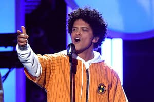 Bruno Mars performing on stage