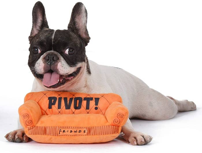 """The toy, which is a small, plush orange couch with the word """"Pivot!"""" printed on it"""