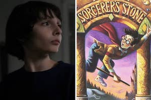 """Mike from """"Stranger Things"""" is on the left with a cover of """"Harry Potter"""" on the right"""