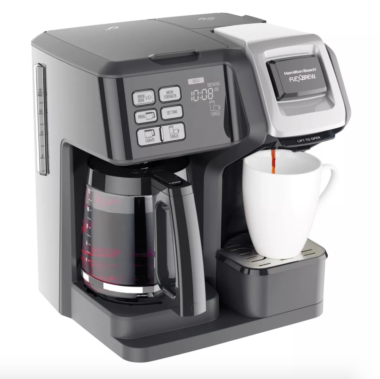 A coffee maker with two options for a full pot and the single-cup brewing