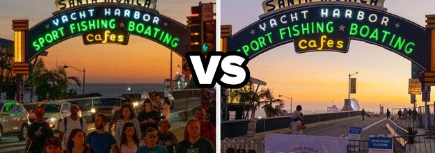 Santa Monica Pier a year ago vs now