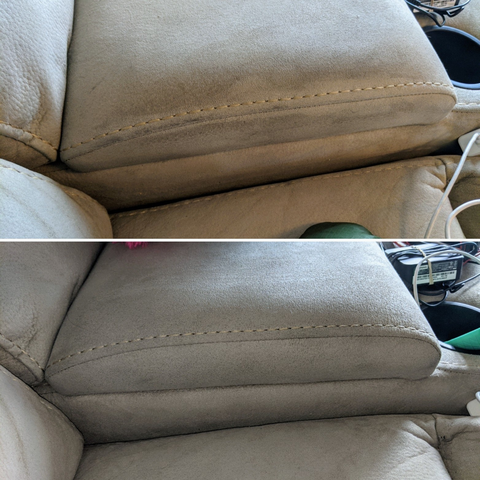 Review photo of before and after the pet carpet and upholstery cleaner