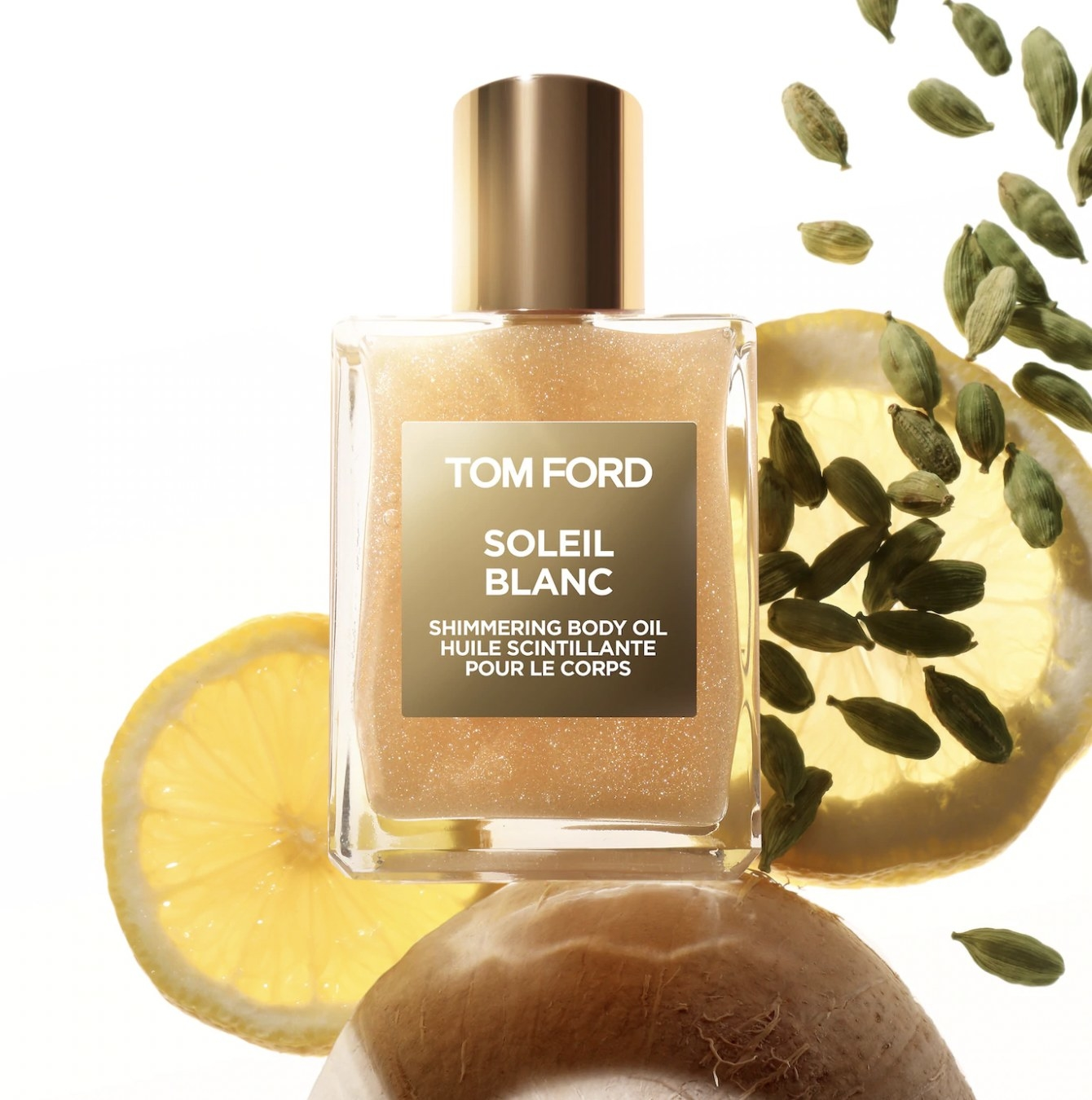 A bottle of shimmering body oil.