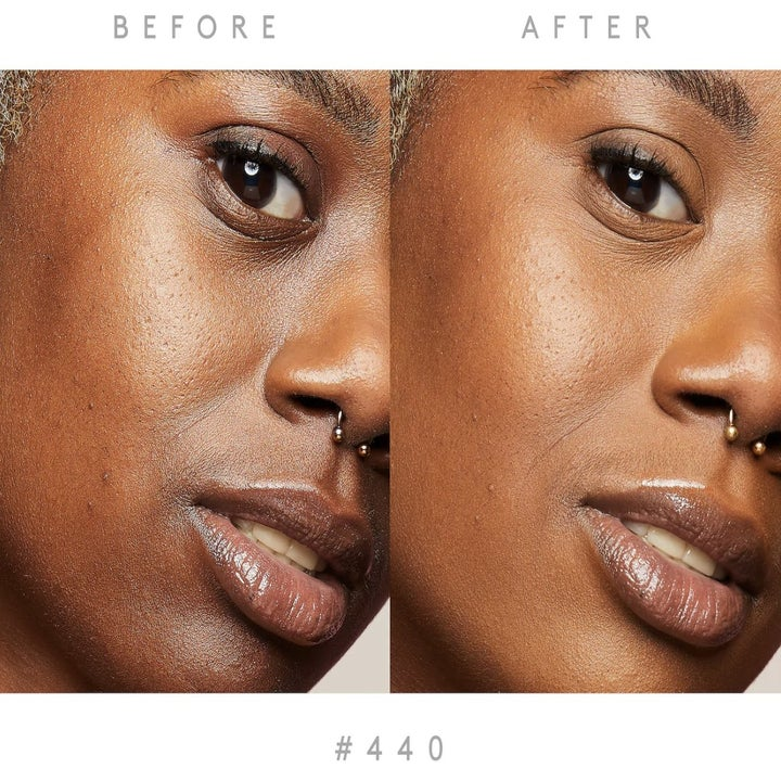 A side-by-side profile of a model with and without concealer