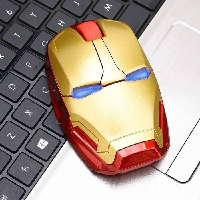 The Iron Man mouse on a laptop keyboard