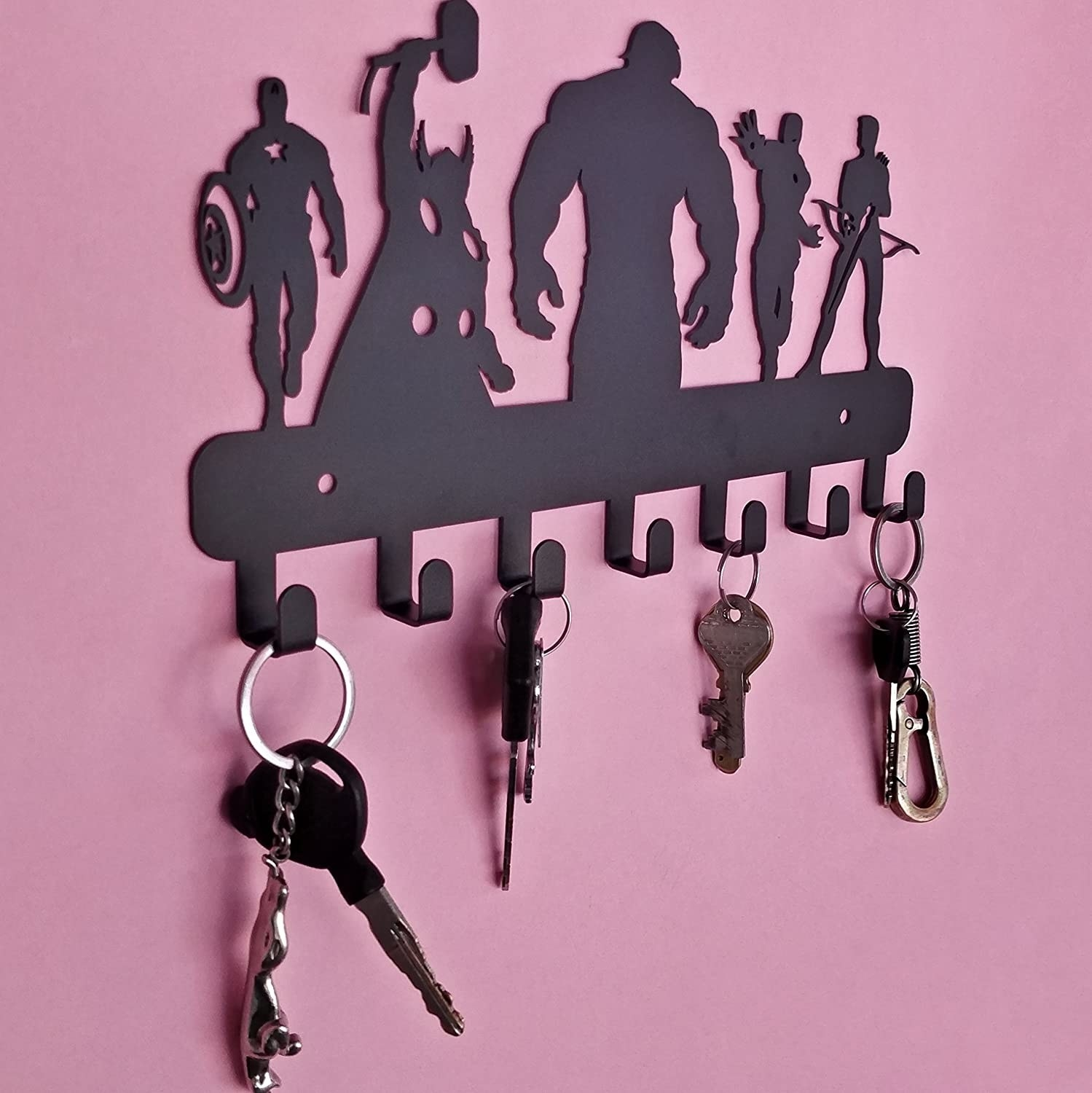 Several keys hanging from the organizer