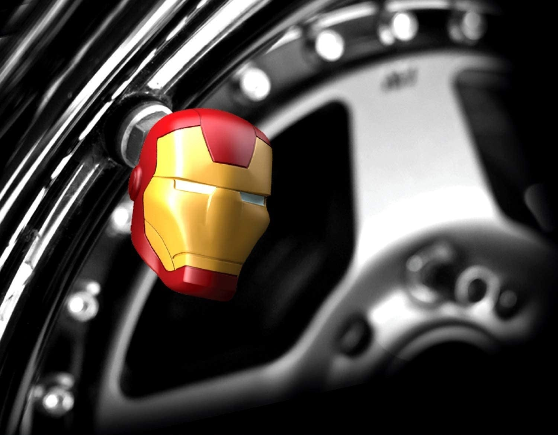 An Iron Man valve cap on a tire