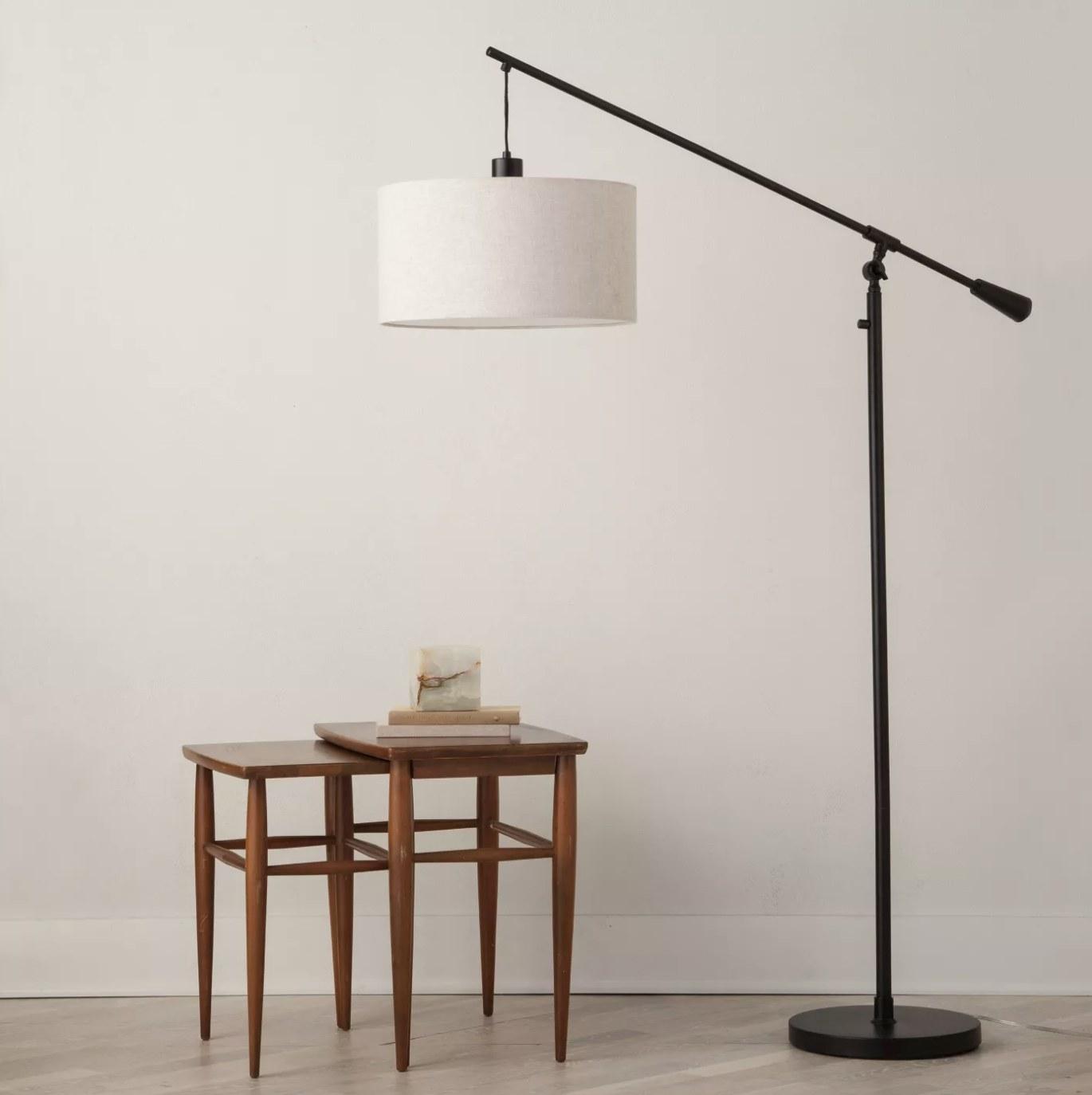 The black floor lamp