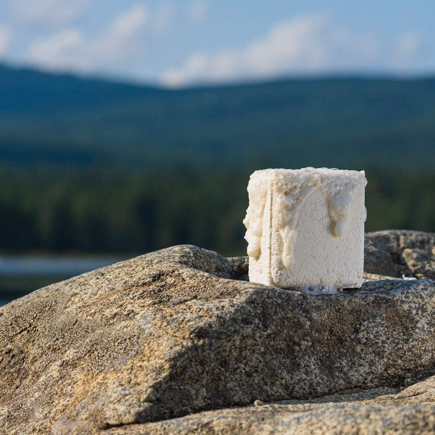 A square-shaped shower steamer on a large rock