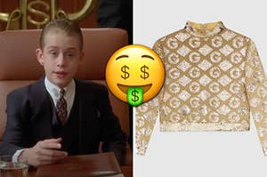Richie Rich is sitting at a table on the left with a Gucci shirt on the right and a money face emoji in the center