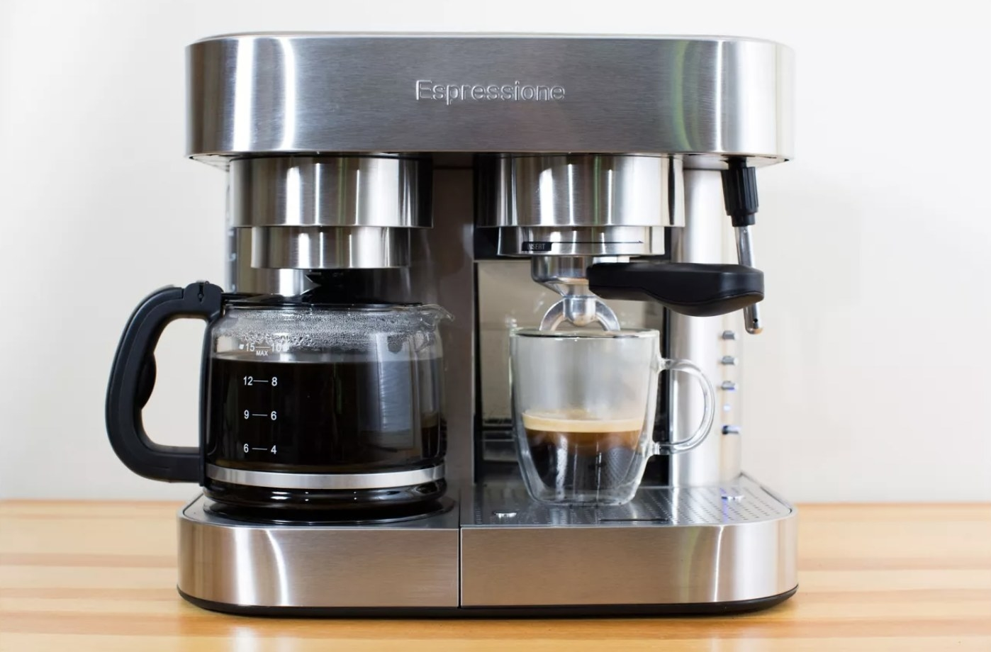Coffee/Espresso machine sitting on counter.