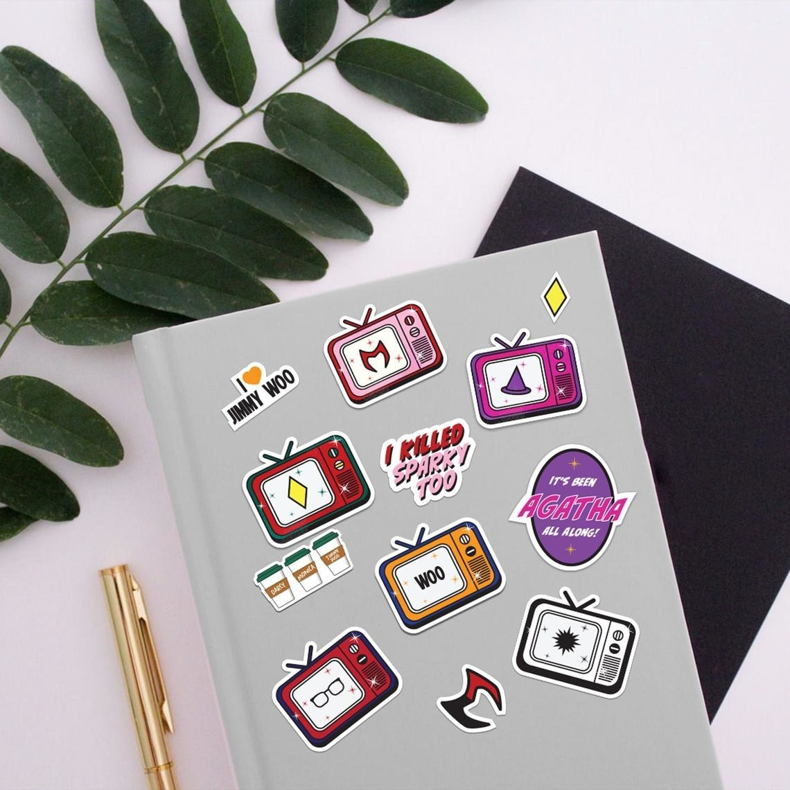 The stickers on a notebook