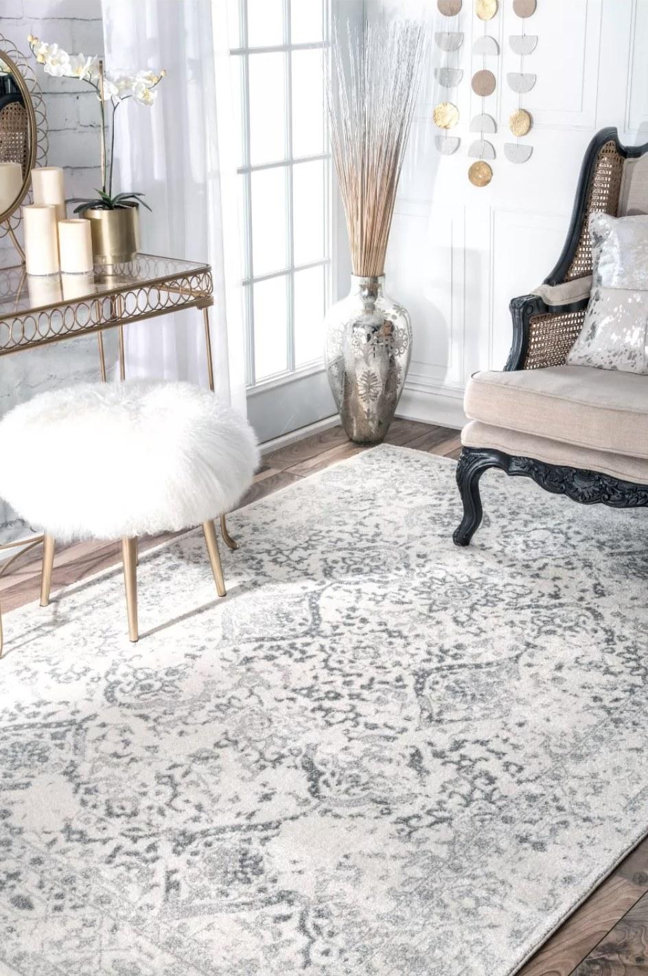 Vintage rug in living room.