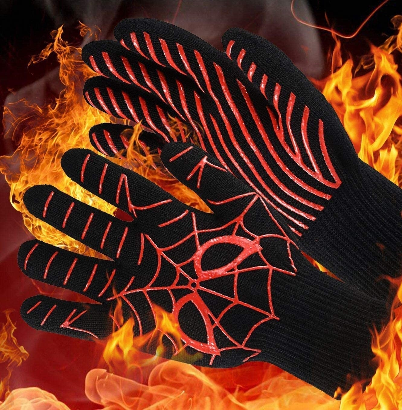 The oven gloves on a flame-covered background