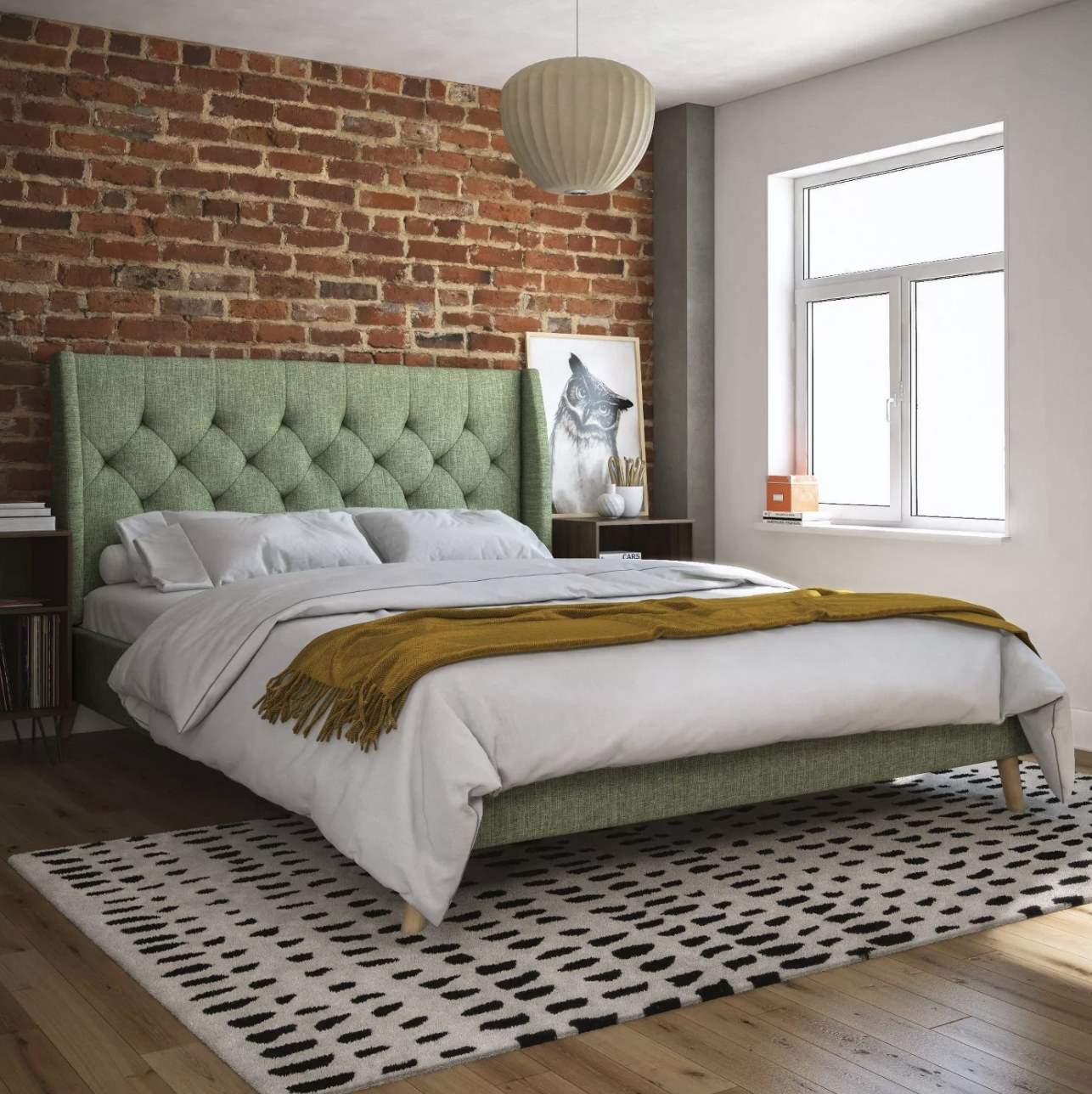 Upholstered bed in bedroom.