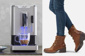 esspresso maker pouring into a cup; model wearing lace-up brown ankle boots