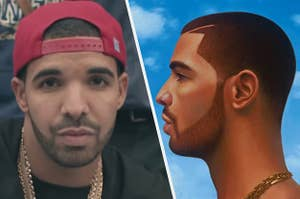 Drake is on the left wearing his hat backwards with an album cover on the right