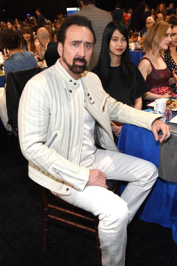 Nicolas Cage and Riko Shibata attend the 2020 Film Independent Spirit Awards