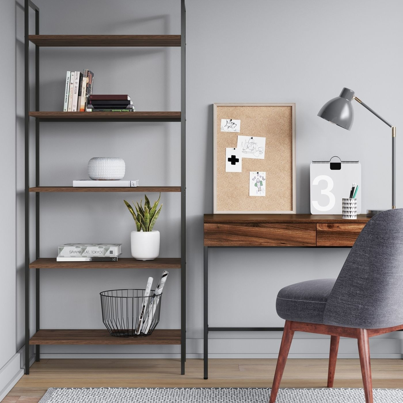 ladder bookshelf with walnut shelves and black metal frame