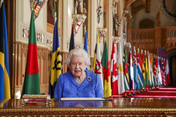 Queen Elizabeth II signing her Commonwealth Day Message in Windsor Castle